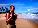 Vincent et la plage à Arembepe: personne en vue!